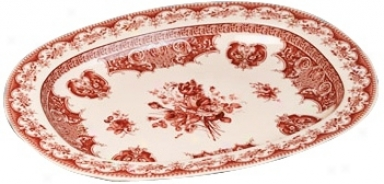 """Red And White Porcelain 20 1/2"""" Wide Tray (r3319)"""