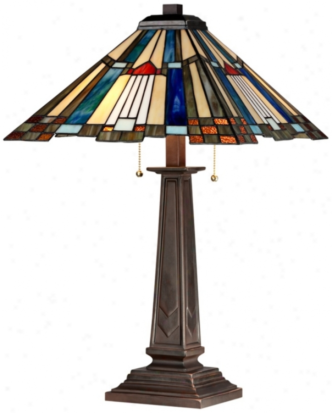 Red Arrow Mission Tiffany Style Table Lamp (v2731)