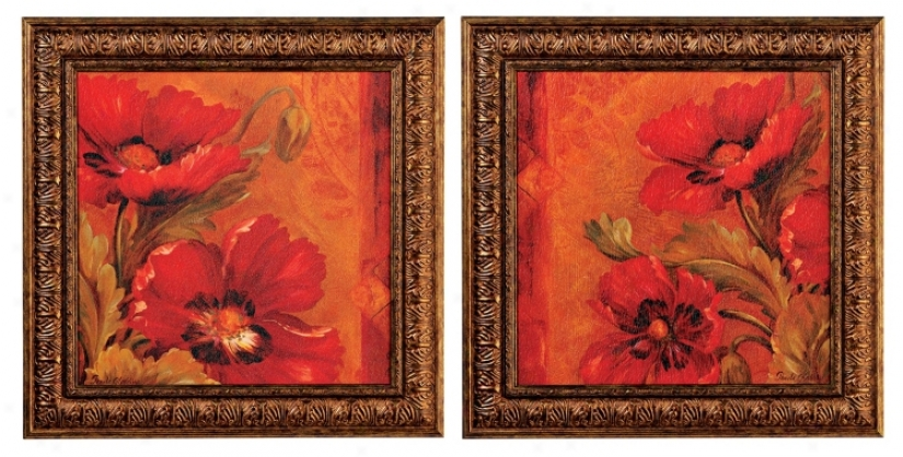 Red Bouquet Set Of Two Wall Art Prints (f6573)