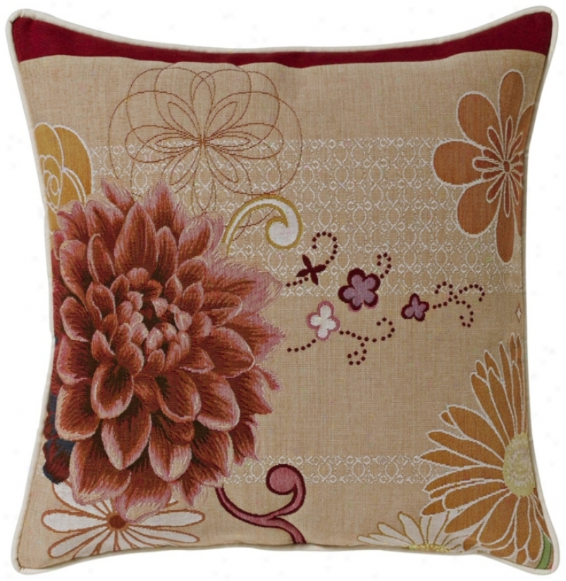 "Red Dahlia Stone 19"" Square Pillow (g2883)"