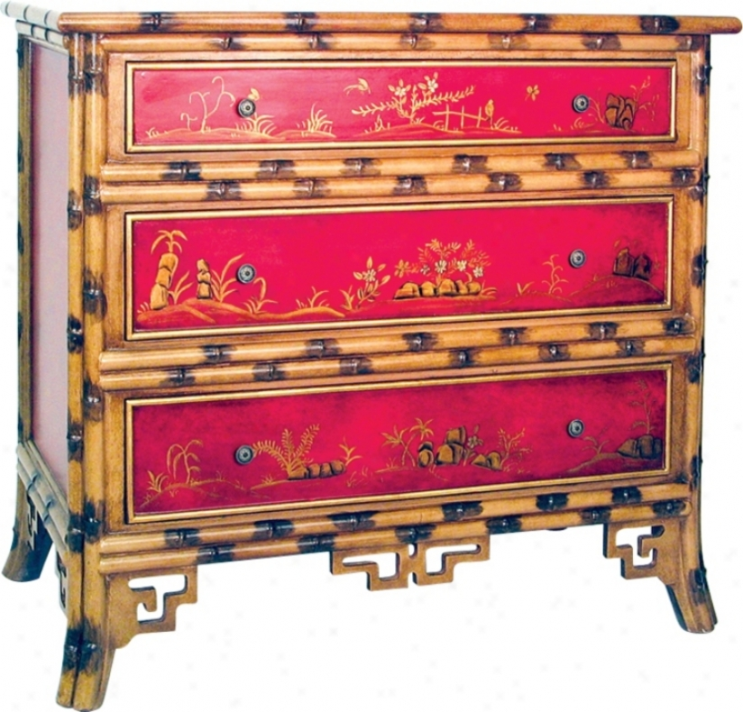 Red Hand-painted Bamboo Chest (h2253)