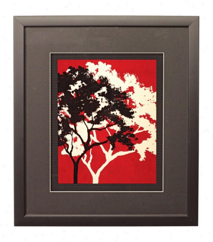 "Red Metal Trees D Framed 17"" High Wall Art (k2031)"