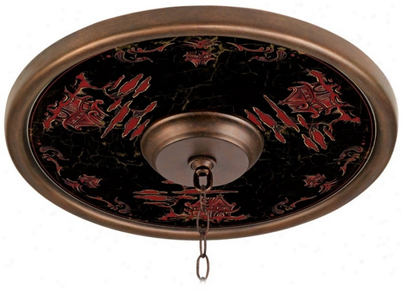 """Red Pagoda Giclee 16"""" Wide Bronze Ceiling Medallion (02795-m4614)"""