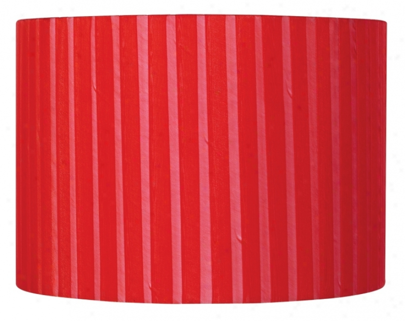 Red Ribbon Wrapped Drum Shade 12x12x8.5 (spider) (93276-k2091)