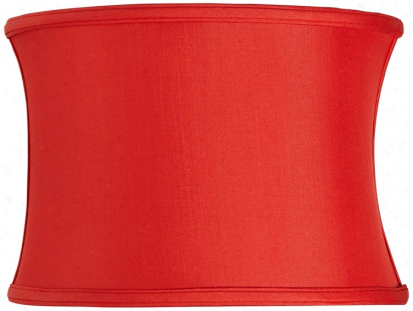 Red Silk Oval Shade 14/9x14/9x10 (spider) (u8155)