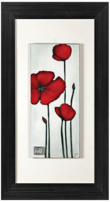 "Red Spring Ii 4"" High Wood Painted Wall Art (p8743)"