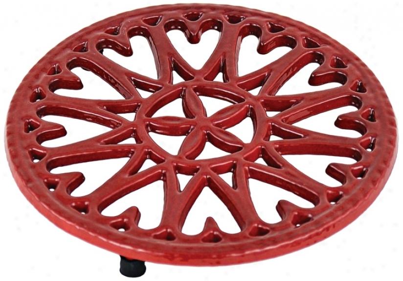 Red Sunburst Round Cast Iron Trivet (u8119)