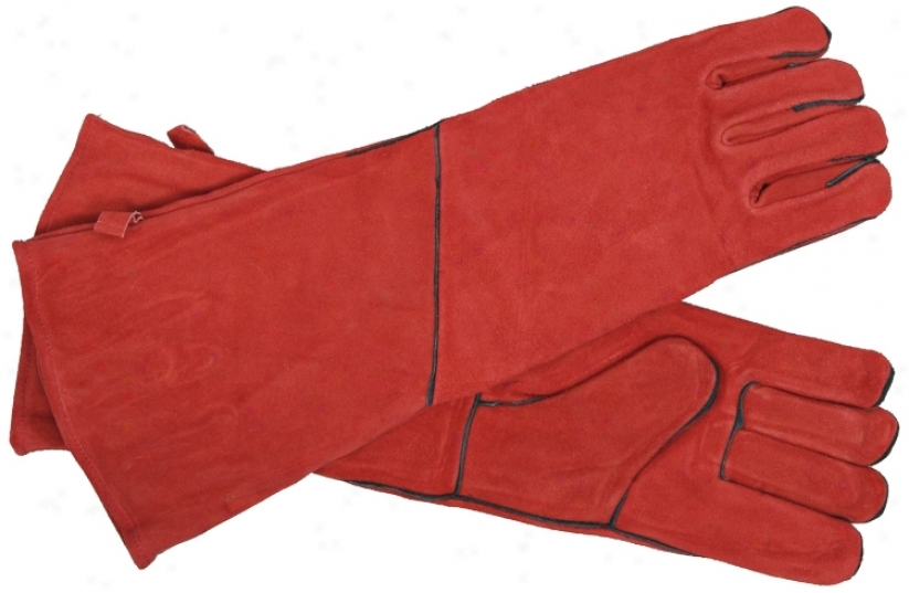 Red With Dismal Trim Long Suede Hearth Gloves (u8587)