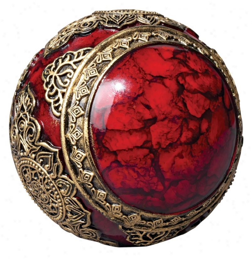 Red With Gold Accents Decorative Ball (k4666)