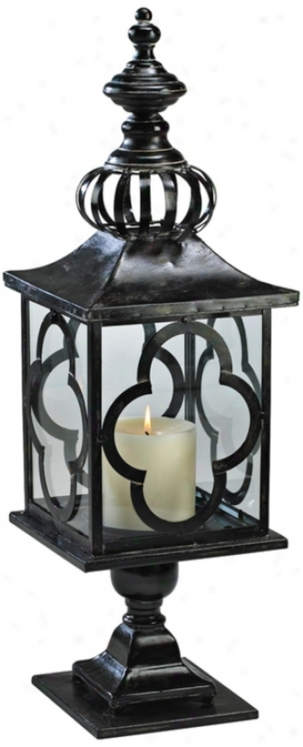 "Regal 28"" High Iron And Glass Candle Lantern (v0878)"