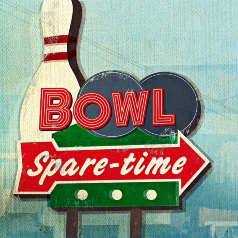 "Retro Bowling Sign Giclee 30"" Square Canvas Wall Art (n1776)"