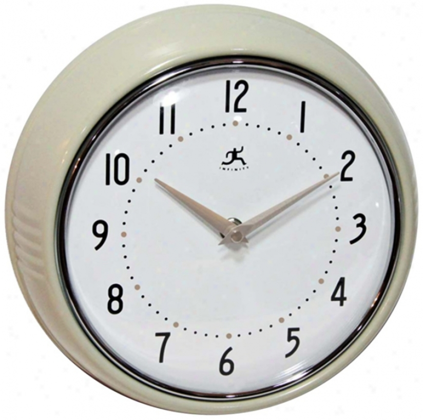"Retro Champagne Metal 9 1/2"" Round Wall Clock (w0983)"