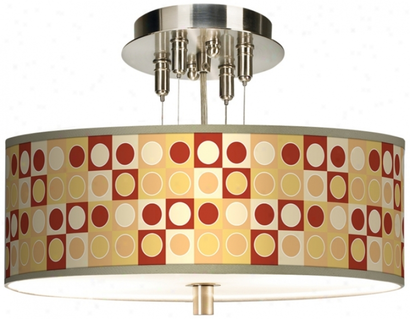 "Retro Dotted Squares Giclee 14"" Wide Ceiling Light (55369-k2075)"