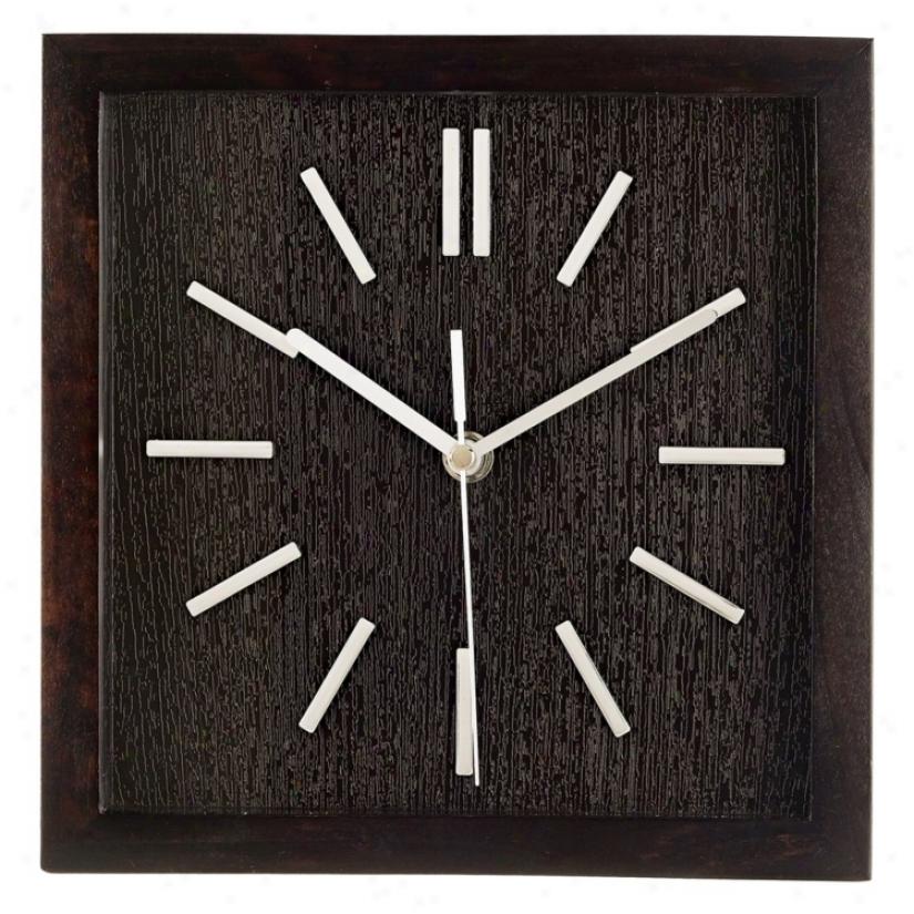 """Retro Espresso Black 9"""" Wide Square Wall Clock (m0736)"""