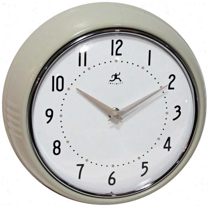 """Rwtro Eucalyptus Metal 9 1/2"""" Round Wall Clock (w0984)"""