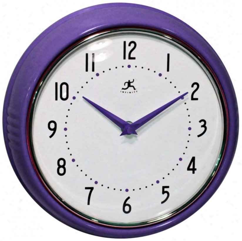 "Retro Purple Metal 9 1/2"" Round Wall Clock (w0986)"