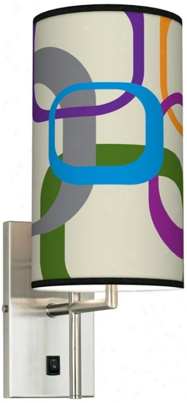 Retro Squares Scramble Banner Giclee Plug-in Sconce (k0515-k4558)