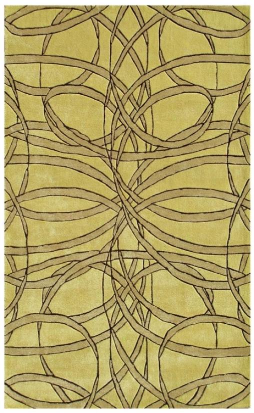 Ribbon Dance Yellow Handmade Rug (k0291)