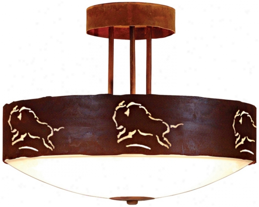 "Ridgecrest Collection Bison 17"" Wide Ceiling Light (j0567)"