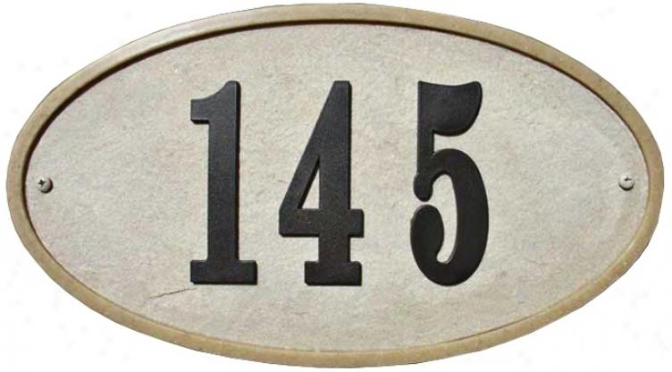 Ridgestone Sandstone Finish Oval Address Plaque (t6927)