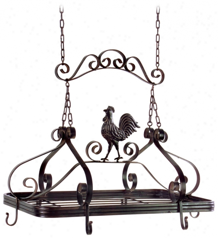 Rooster Hanging Kitchen Pot Rack (j7167)