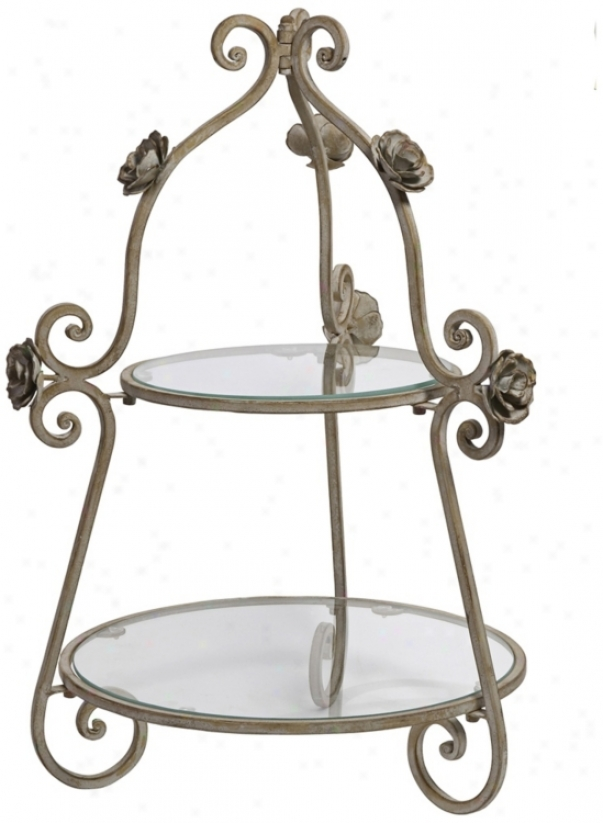 Rose 2-tier Glass Plate Wrought Iron Server (w2079)