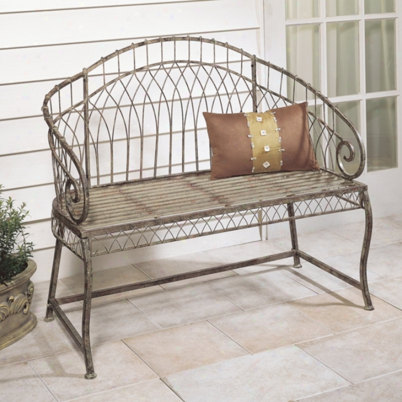 Rose Green Arch Back Iron Garden Bench (p5904)