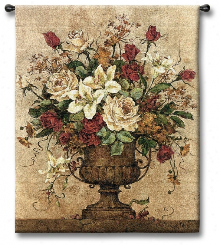 "Rosy I Urn 32"" High Wall Tapestry (j8726)"