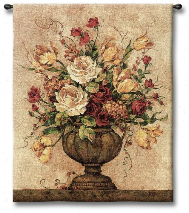 "Rosy Ii Urn 32"" High Wall Tapestry (j8727)"