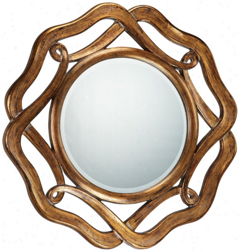 "Round Antique Gold Openwork 35"" Wide Wall Mirror (k5810)"