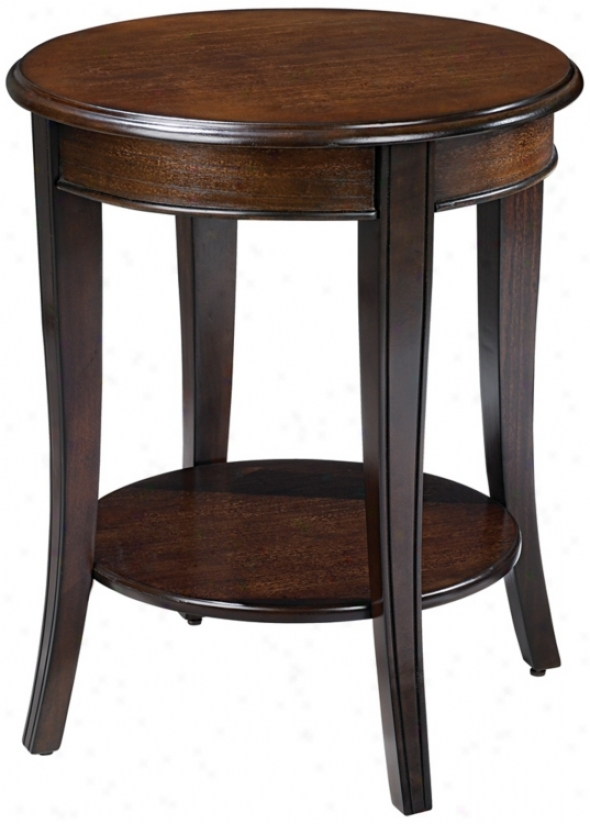 Round Burnished Walnut Finish End Table (t0425)