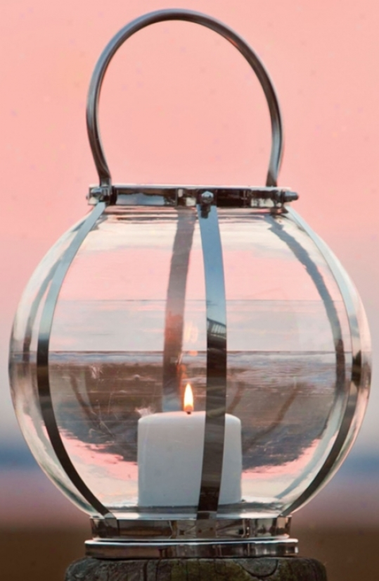 Round Stainless Steel Strip Glass Taper Lantern (w2979)