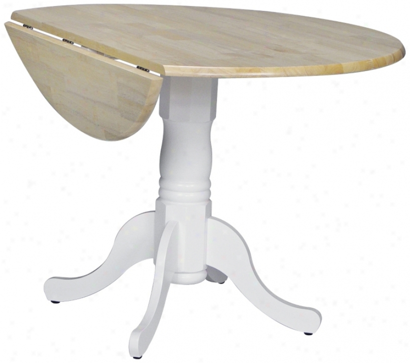 Round White And Natural Dro0-leaf Pedestal Dining Table (u4181)