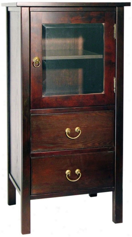 Rovena Mahogany Wood Cabinet With Glass Pane Drawer (h2208)