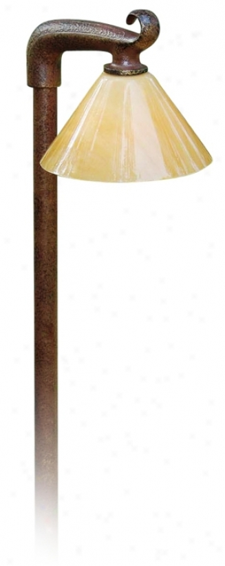 "Gather ~ Brown Alabaster Acrylic Shade 21"" High Path Light (m0015)"