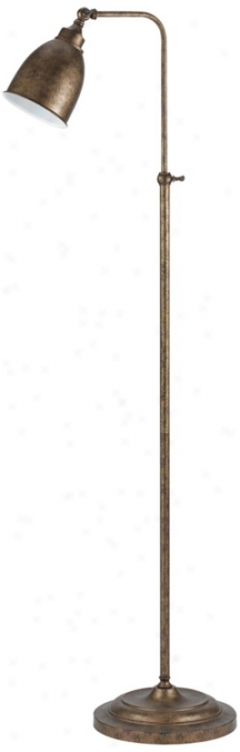 Rust Metal Adjustable Pole Pharmacy Floor Lamp (k1111)