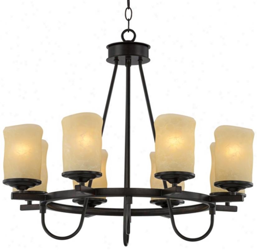 """Rustic Candle Dark Bronze 27 1/2"""" Wide Chandelier (t7086)"""