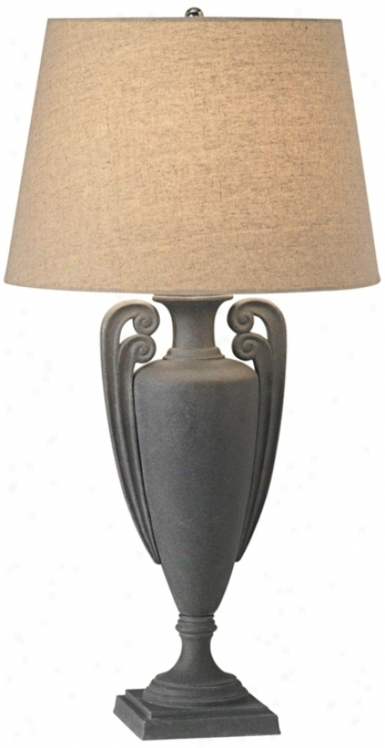 Rustic Charcoal Finish Urn Base Table Lamp (r2817)