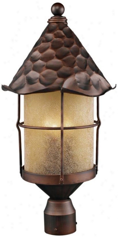 Rustica Antique Copper Scavo Glass Outdoor Post Light (k4037)