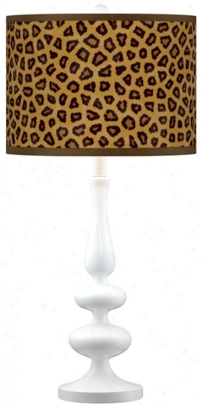 Safari Cheetah Modern Gloss White Base Tabble Lamp (n5729-r22368)