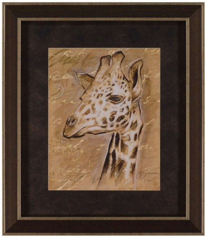 "Safari Portrqit Of Giraffe 30 1/2"" High Framed Wall Art (t0222)"