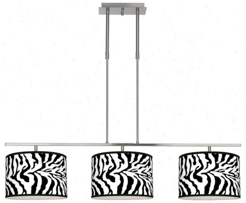 Safari Zebra 46&quor; Wide Bar Hanging 3 Drum Island Light (m3236-u4694)