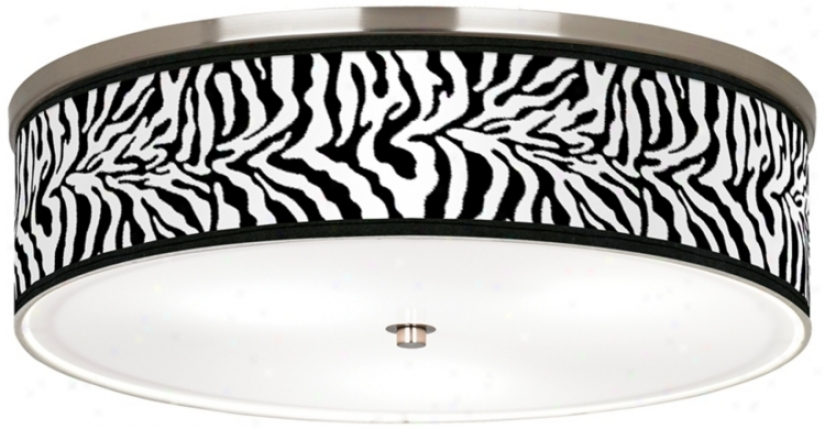 "Safari Zebra Giclee Nickel 20 1/4"" Wide Ceiling Light (j9213-r2341)"