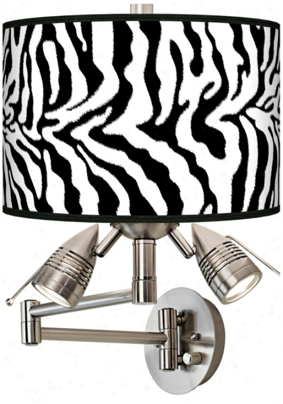 Safari Zebra Giclee Swing Arm Wall Light (80379-r2304)