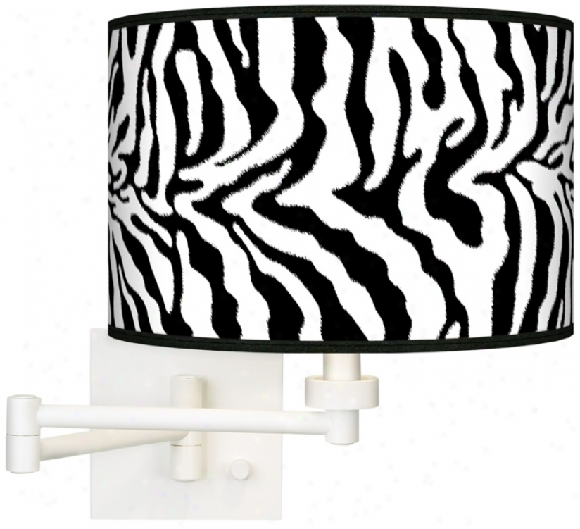 Safari Zebra White Plug-in Swing Arm Wall Light (h6558-r2307)