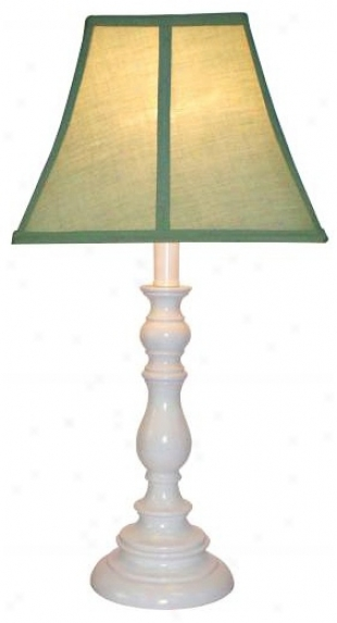 Sage Shade With White Candlestick Base Table Lamp (u7890