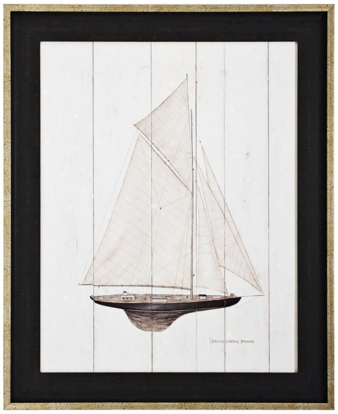"Sailboat I 33"" High Framed Wall Art (k1982)"