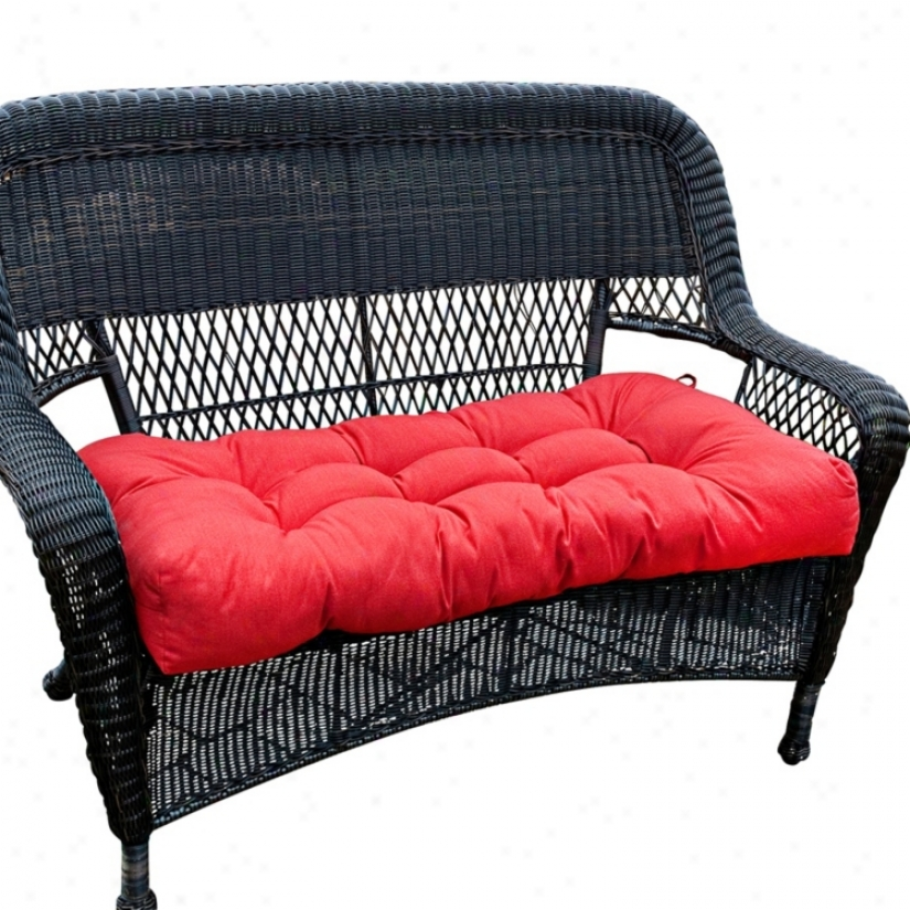 "Salsa Red 42"" Wide Outdoor Settee Cuqhion (w6257)"