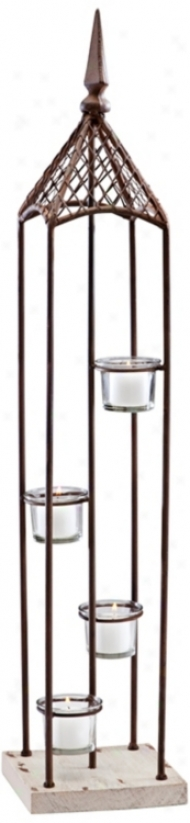 Sarah Bronze And Glass Devoted Candle Holder (v0552)