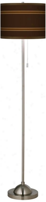 Saratoga Stripe Giclee Brushed Nickel Contemporary Floor Lamp (99185-p2580)